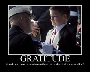 gratitude - How dou you thank those who bear the burden of ultimate sacrifice
